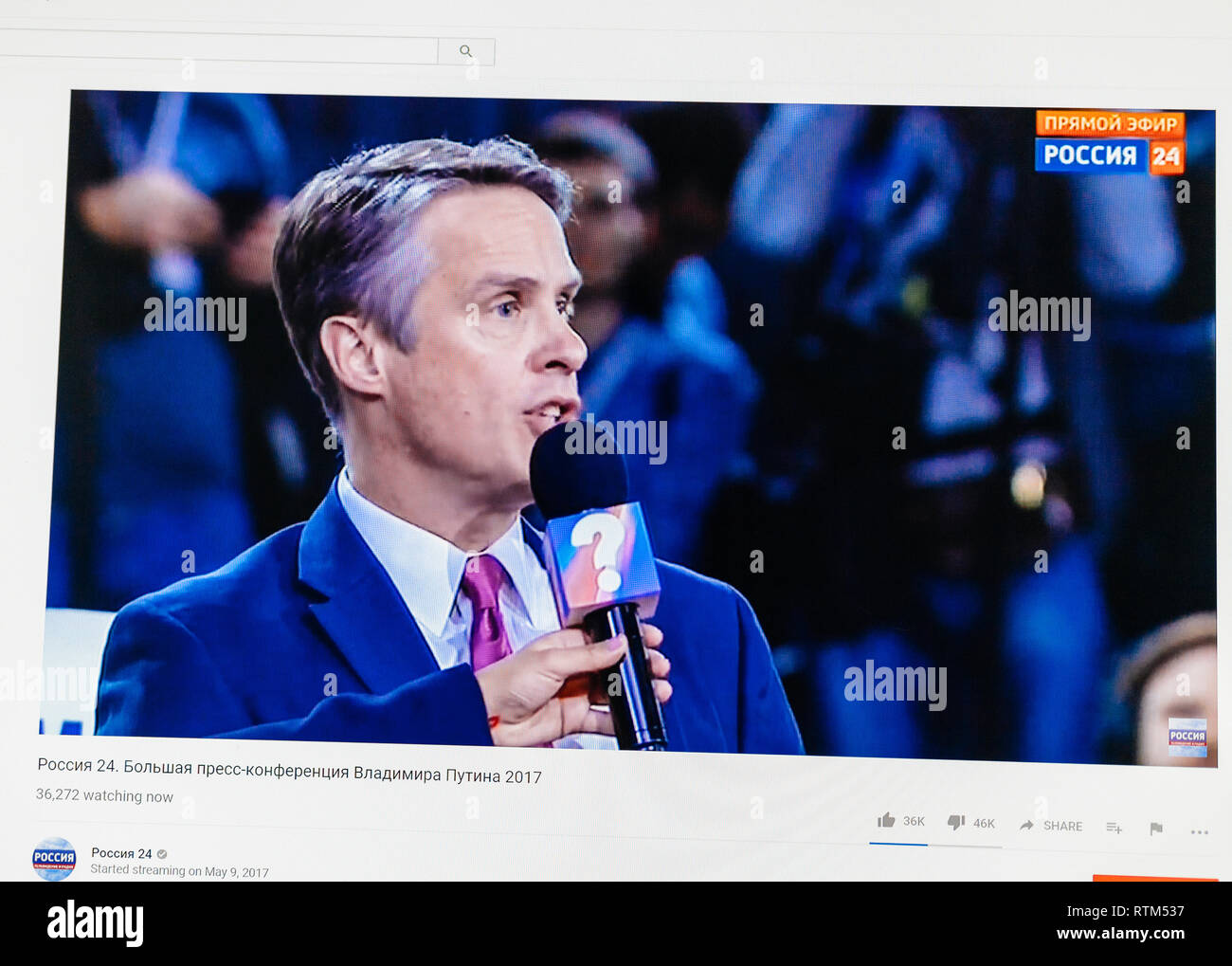 PARIS, FRANCE - DEC 14, 2017: Terence Patrick Moran ABC asking questions to Russian President Vladimir Putin give final media Q&A before March election - Stock Image