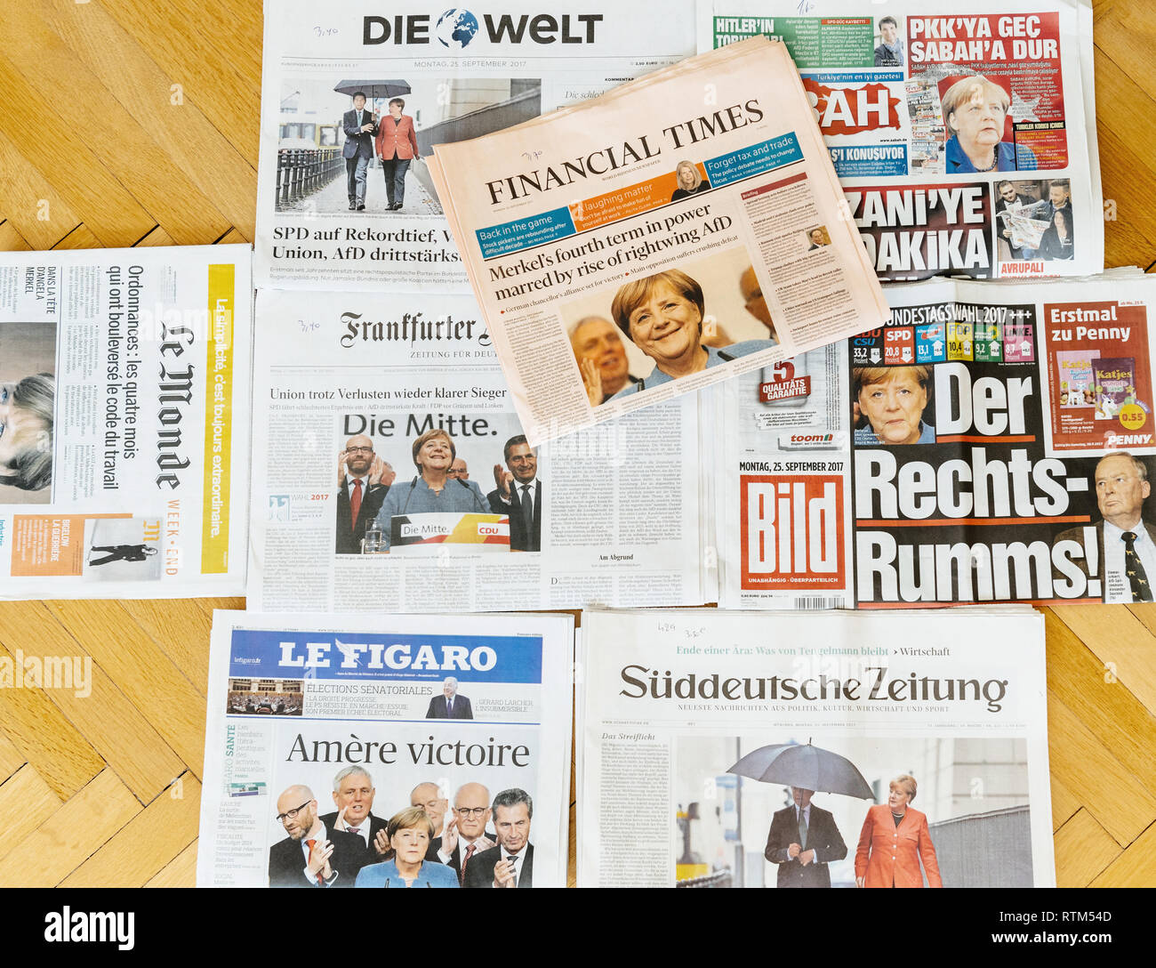 PARIS, FRANCE - SEP 25, 2017: International newspaper with Financial Times portrait of Angela Merkel after election in Germany for the Chancellor of Germany, the head of the federal government - Stock Image