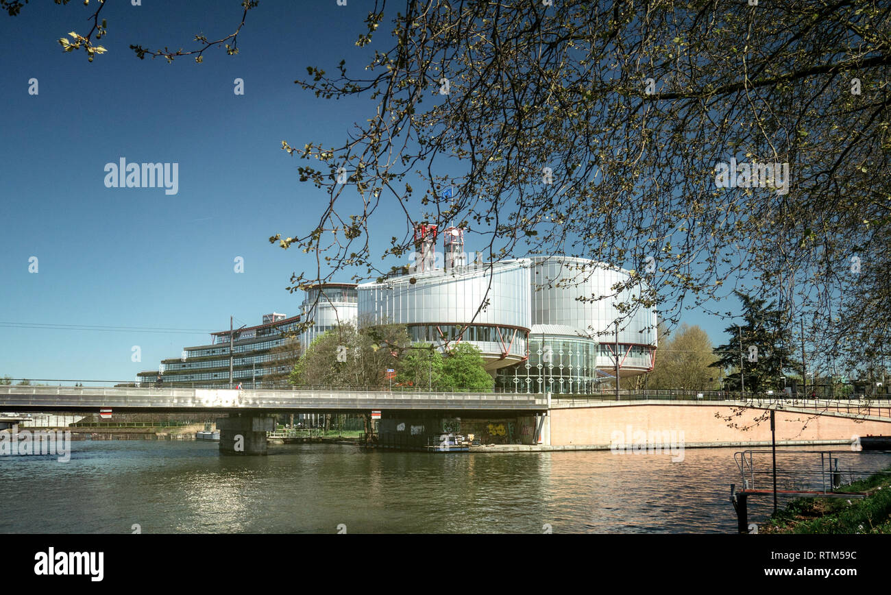 STRASBOURG, FRANCE - APR 15, 2017: European Court of Human Rights building and Ill River in Strasbourg, France  - Stock Image