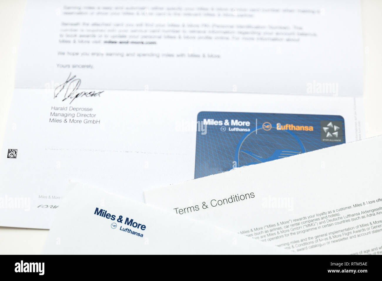 FRANKFURT, GERMANY - JAN 14, 2015: Miles and More traveler card received by post from German Lufthansa airlines - Stock Image