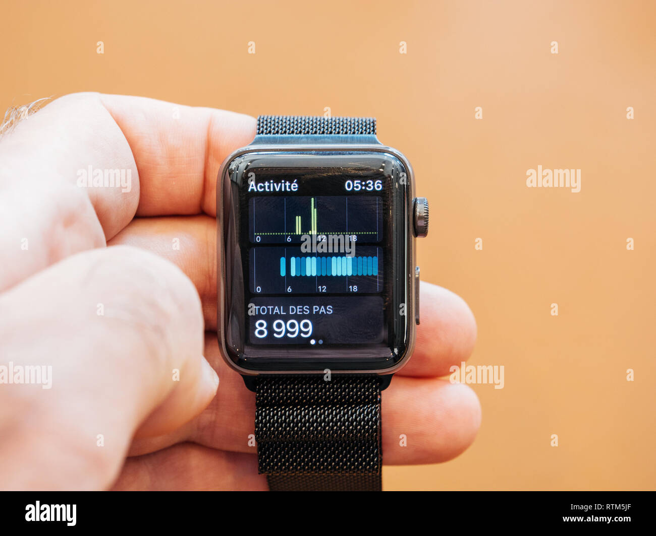 PARIS, FRANCE - SEP 22, 2017: New Apple Watch Series 3 goes on sale in Apple Store with total steps pedometer watch app  Stock Photo