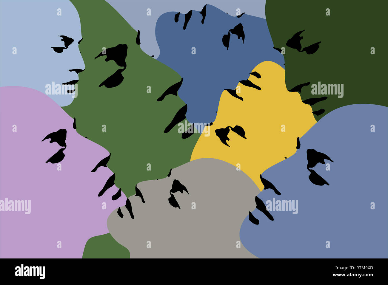 Human heads silhouette - Printable illustration Stock Photo