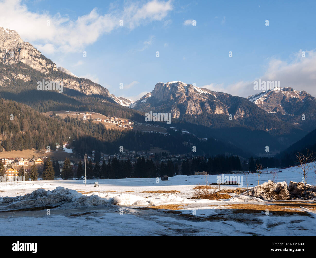 Skiing area in the Dolomites Alps. Overlooking the Sella group  in Val Gardena. Italy - Stock Image