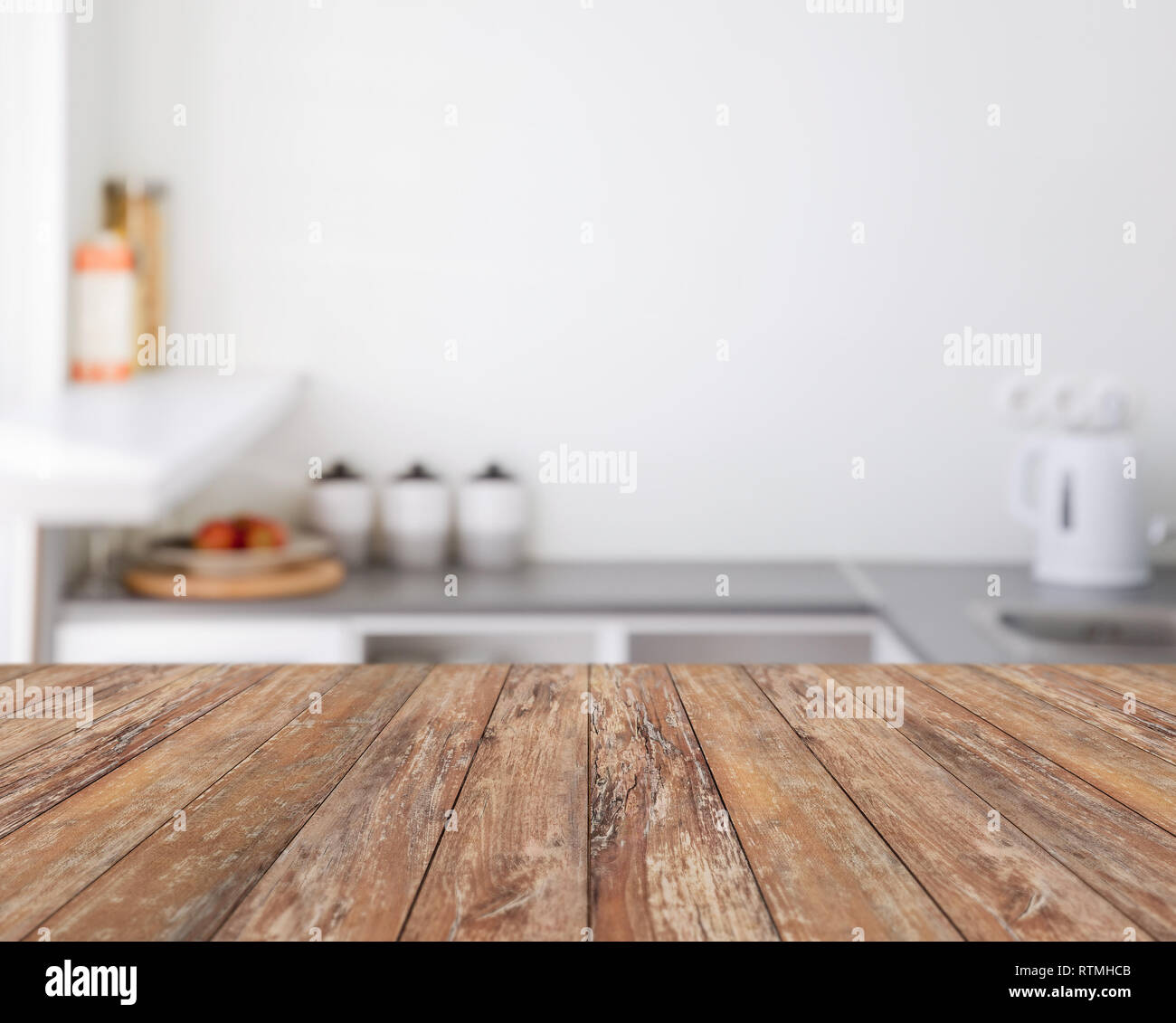 Blurred Kitchen Background With Wooden Boards Stock Photo Alamy