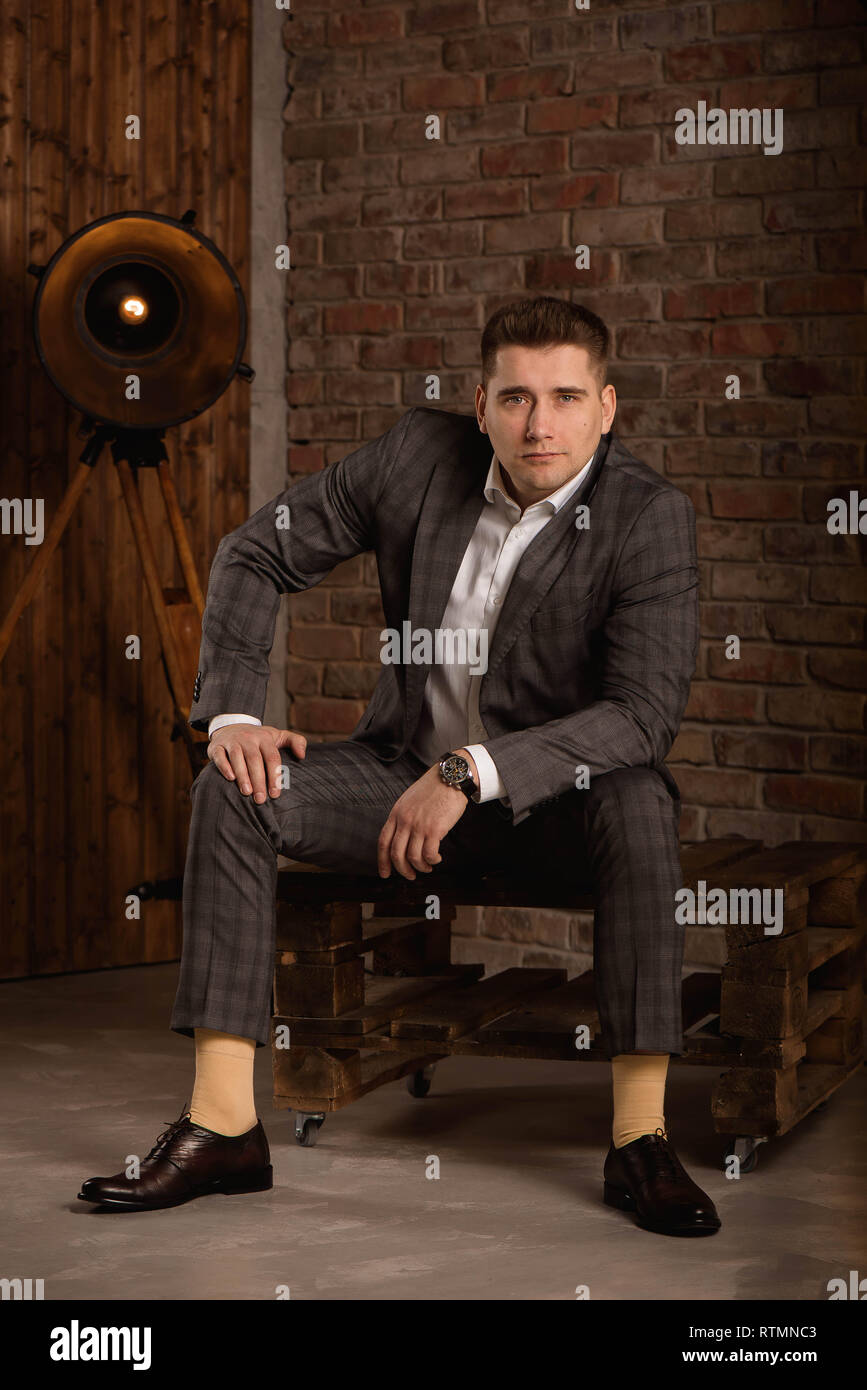 00ac70ee3c Serious Caucasian man with short black hair in business formal outfit. -  Stock Image