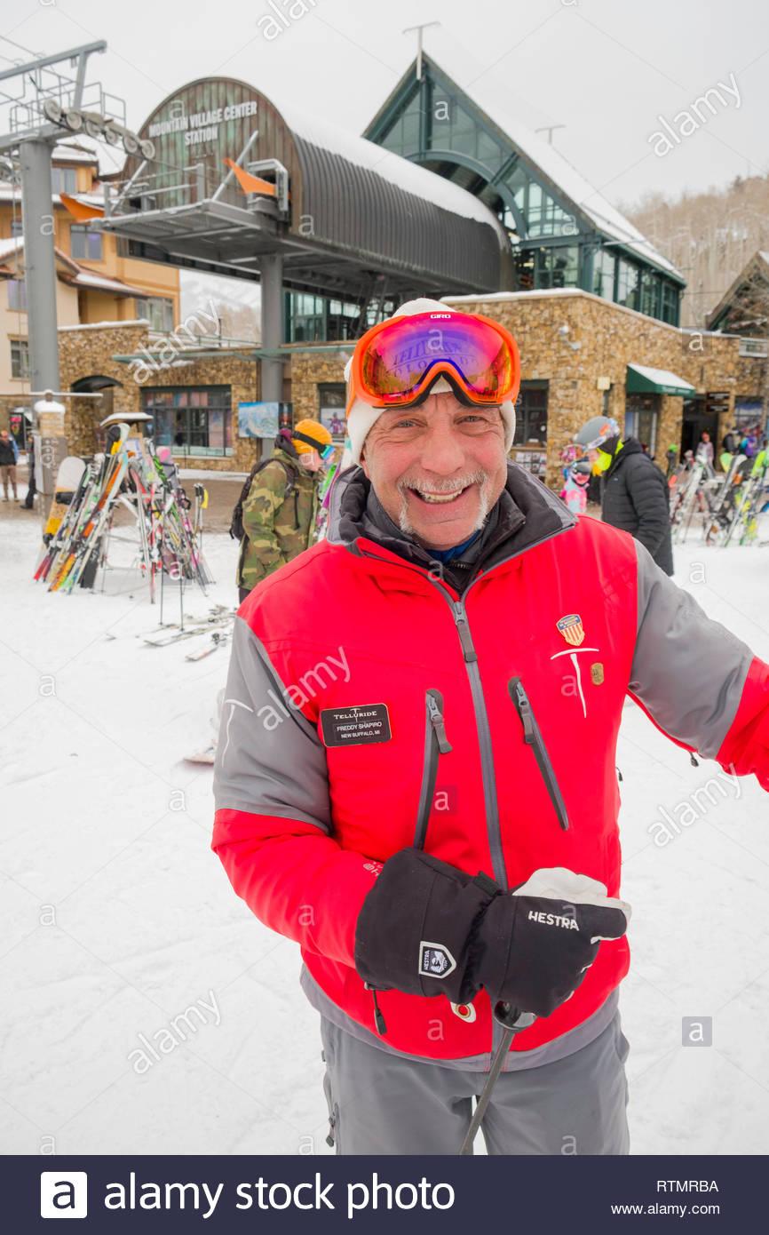 Smiling male ski instructor, Mountain Village, San Miguel County, Colorado, USA - Stock Image
