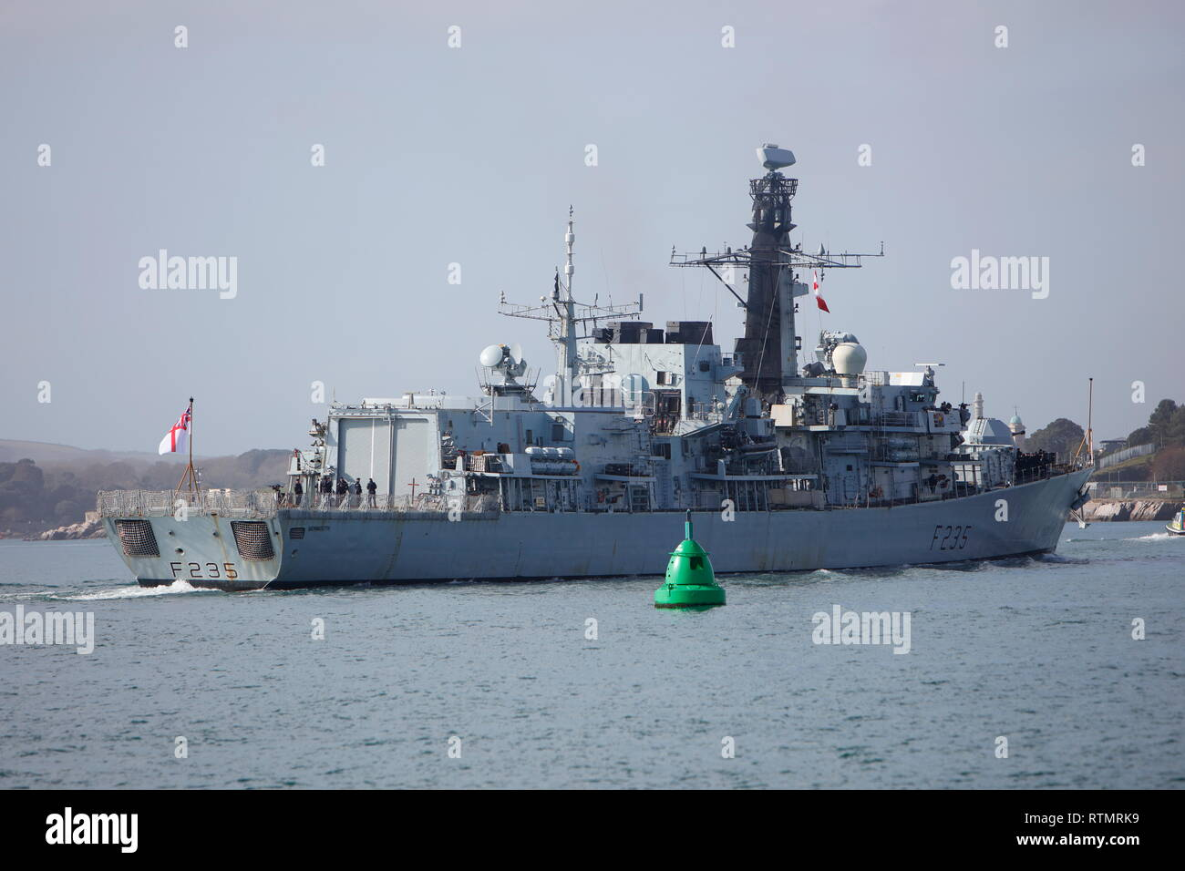 Plymouth, Devon, UK.1st March, 2019. HMS Monmouth F235 returns to Plymouth. Known as the Black Duke she is a Type 23 frigate and the sevemth to bear t Stock Photo