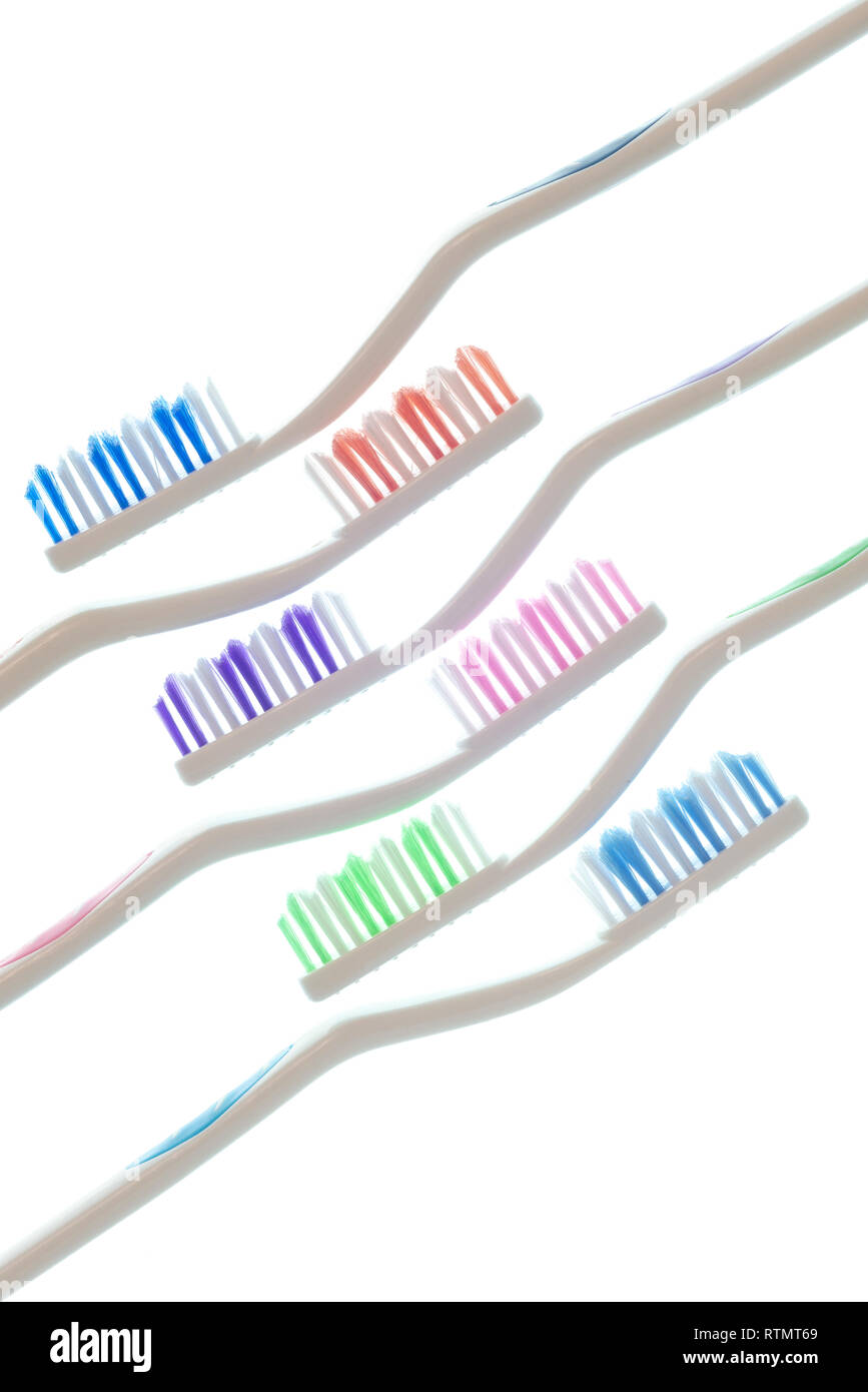 Vertical side view shot of six colorful toothbrushes with white handles laid diagonally isolated on white. - Stock Image