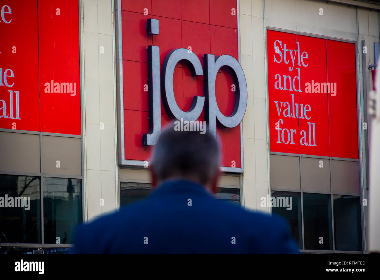 The JCPenney store in the Manhattan Mall in New York on Tuesday, February 26, 2019. The J.C. Penney Co. is scheduled to report fourth-quarter earnings on February 28. (© Richard B. Levine) - Stock Image