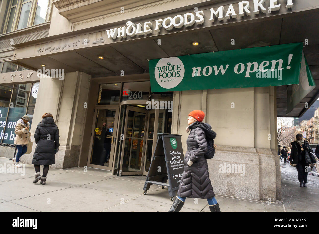 A miniature Whole Foods Market in the Chelsea neighborhood of New York on opening day, Friday, March , 2019. Located in the former space occupied by Whole Foods' beauty and health products the miniature location sells snacks and prepared foods as well as hosting a coffee and kombucha bar. Amazon, the owner of Whole Foods Market, announced it will be opening a chain of supermarkets with a price point lower than WFM and with a smaller footprint, although not as small as this store. (© Richard B. Levine) Stock Photo
