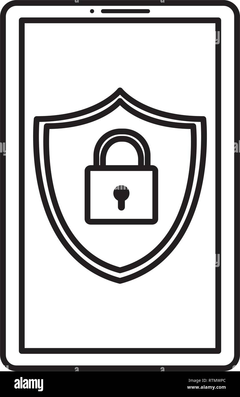 smartphone with shield and padlock vector illustration design - Stock Image