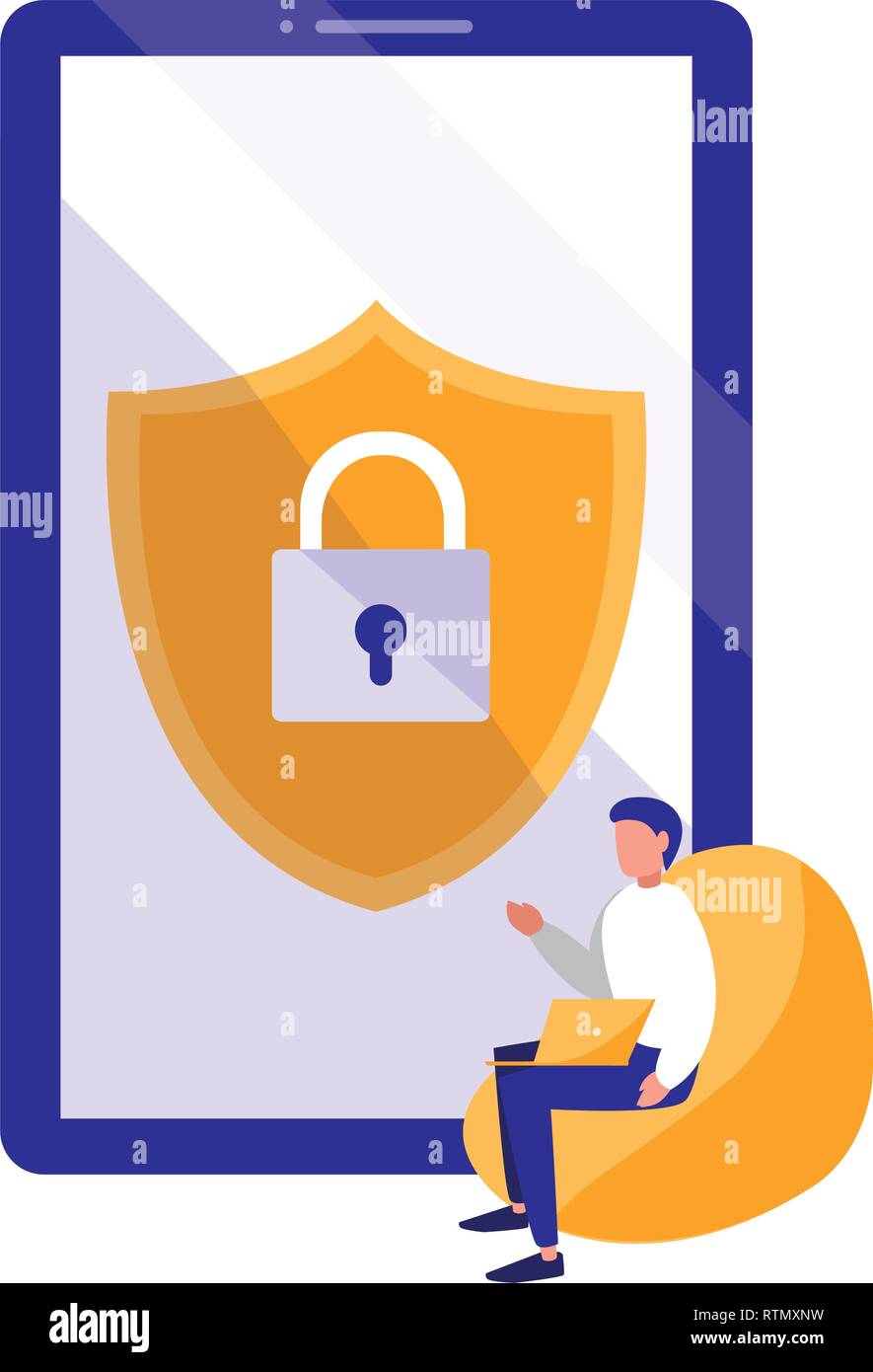 man using smartphone with shield and padlock vector illustration design - Stock Vector