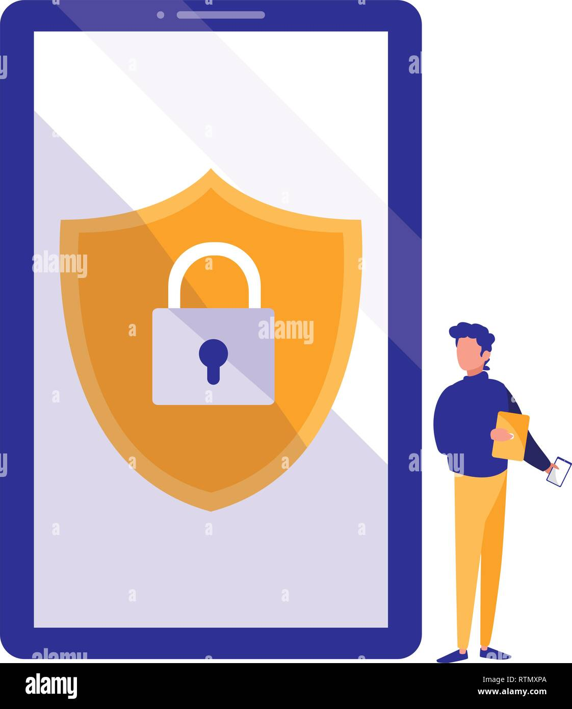 man using smartphone with shield and padlock vector illustration design - Stock Image