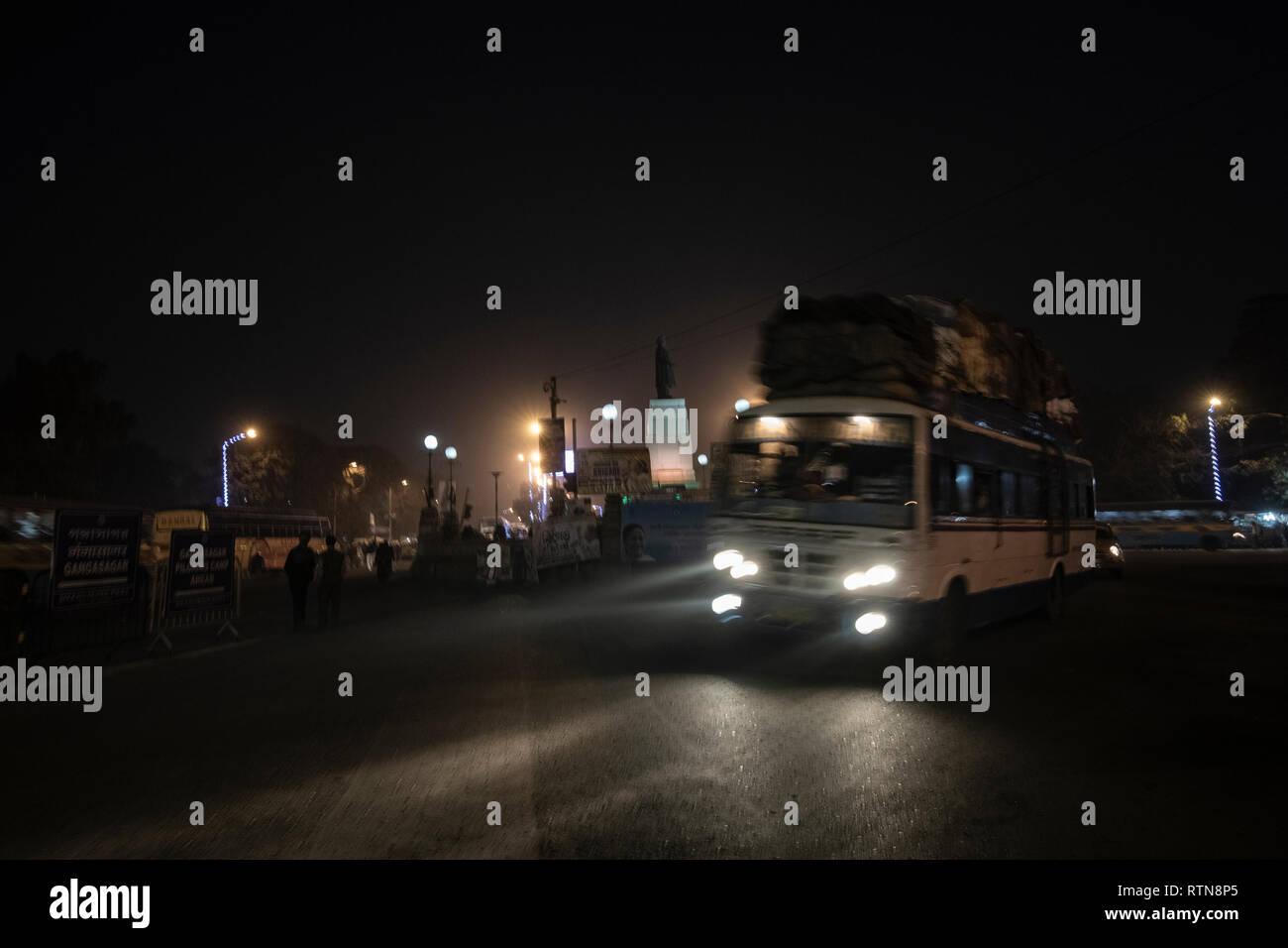Night bus,full with Gangasagar,pilgrims,leaving ,for,Sagar Island,Kapil Muni Asram, Sagar Island,ultimate destination,for piety,on Makar Sankranti Day Stock Photo