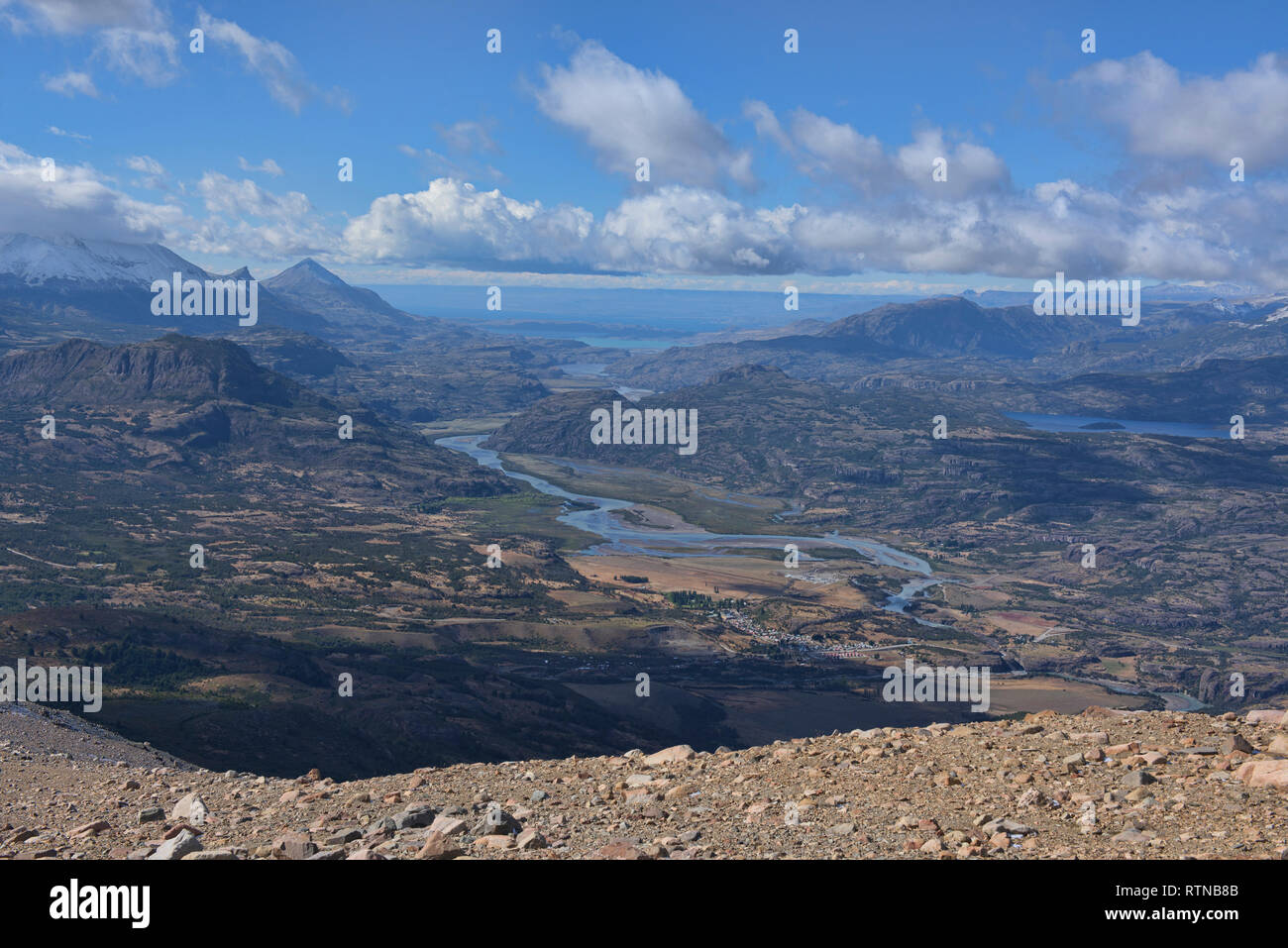 Looking out at the Rio Ibanez and Villa Cerro Castillo, Aysen, Patagonia, Chile - Stock Image