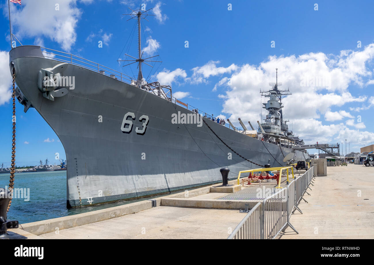 The USS Missouri battleship on August 5, 2016 in Pearl Harbor, USA. Site of the treaty signing ending WWII between the US and Japan, is now berthed in Stock Photo