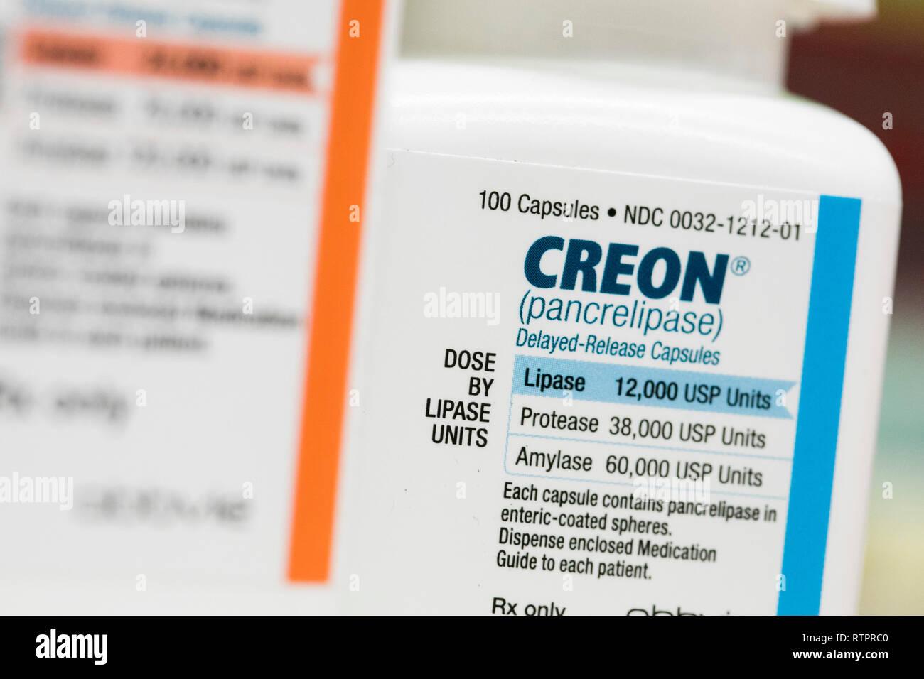 Bottles Of Creon Pancrelipase Prescription Pharmaceuticals