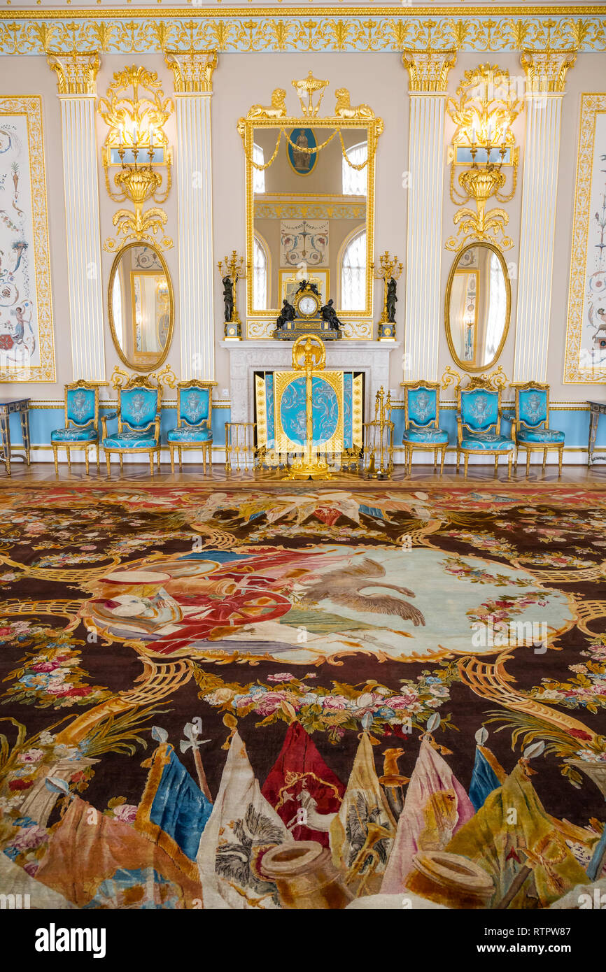 SAINT PETERSBURG, RUSSIA - APRIL 26: Catherine Palace, interior detail on April 26, 2015 in the town of Tsarskoye Selo. It was the summer residence of Stock Photo