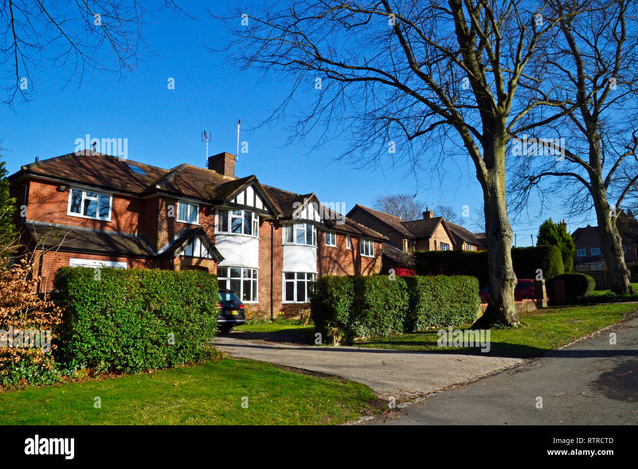 1930s houses with bay windows, on Manor Park Avenue, in Princes Risborough, Buckinghamshire, UK - Stock Image