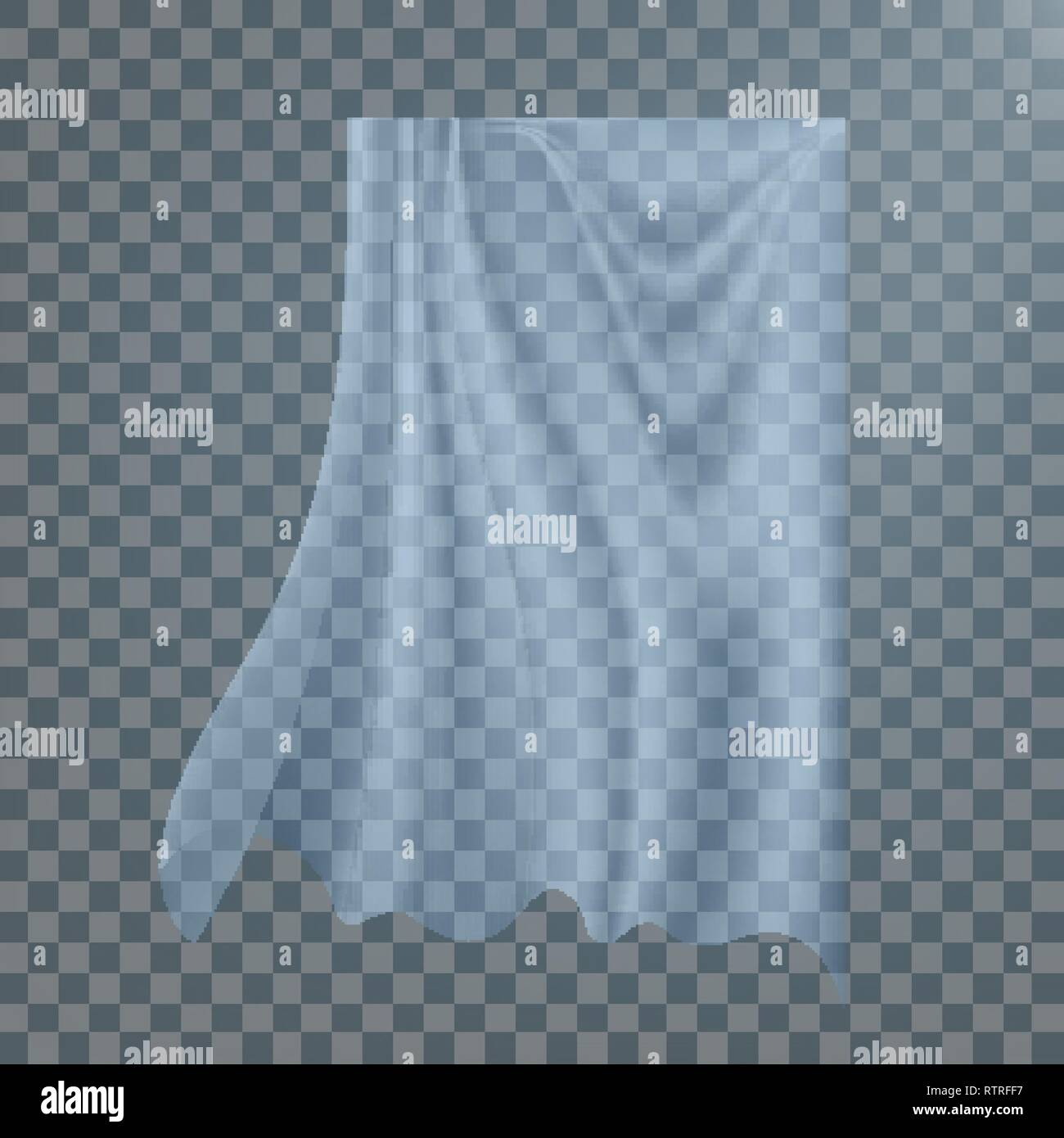 Fluttering White Cloth Vector. Billowing Clear Curly Curtain Transparent White Cloth. Realistic Clear Material Illustration Stock Vector