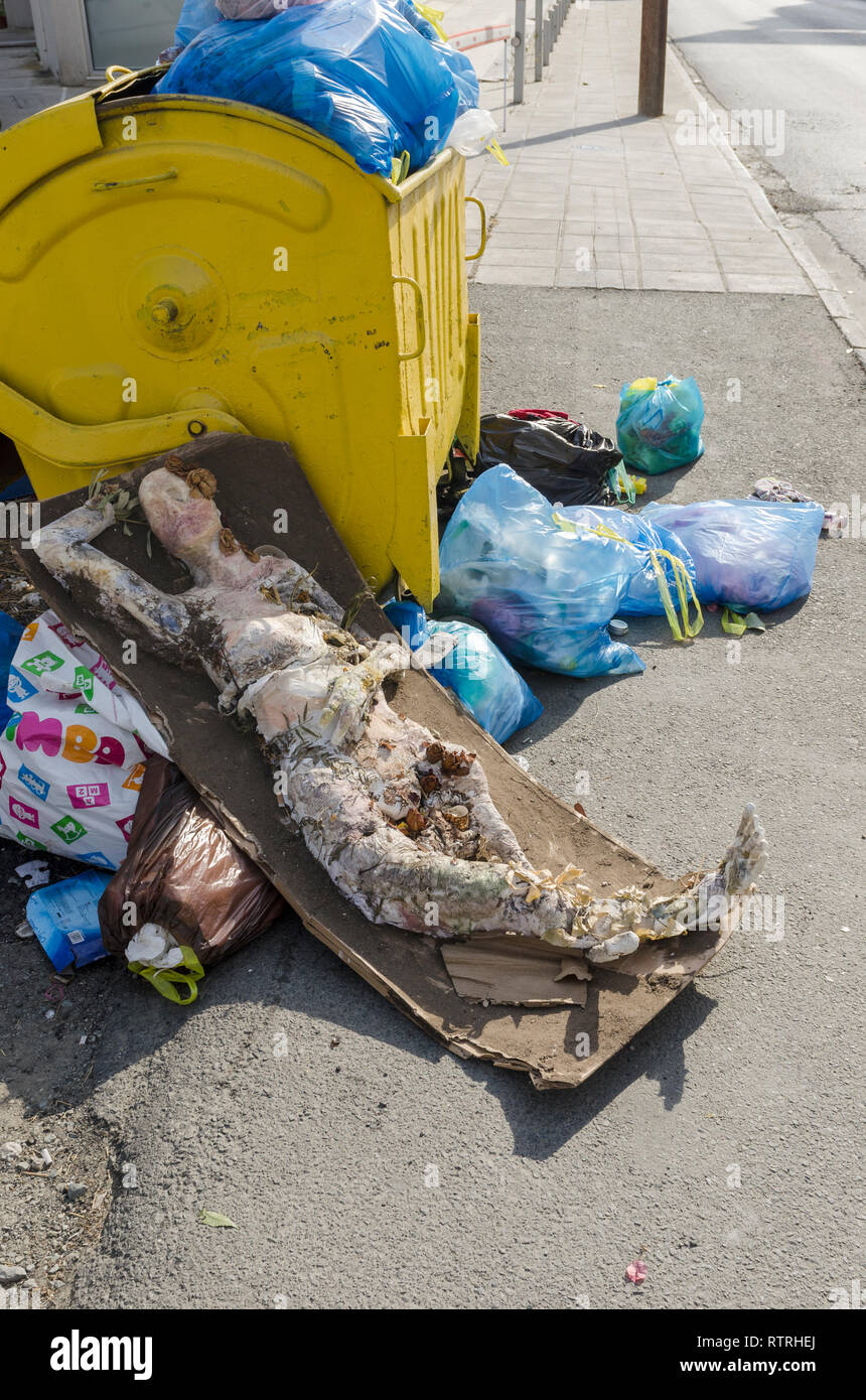 Refuse Collection Point, in Limassol, Cyprus - Stock Image