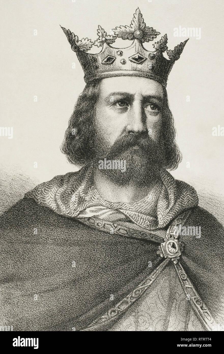 Alfons II the Chaste (1157-1196). King of Aragon and Count of Barcelona. Lithography. Detail. Crónica General de España, Historia Ilustrada y Descriptiva de sus Provincias. Catalonia. 1866. - Stock Image
