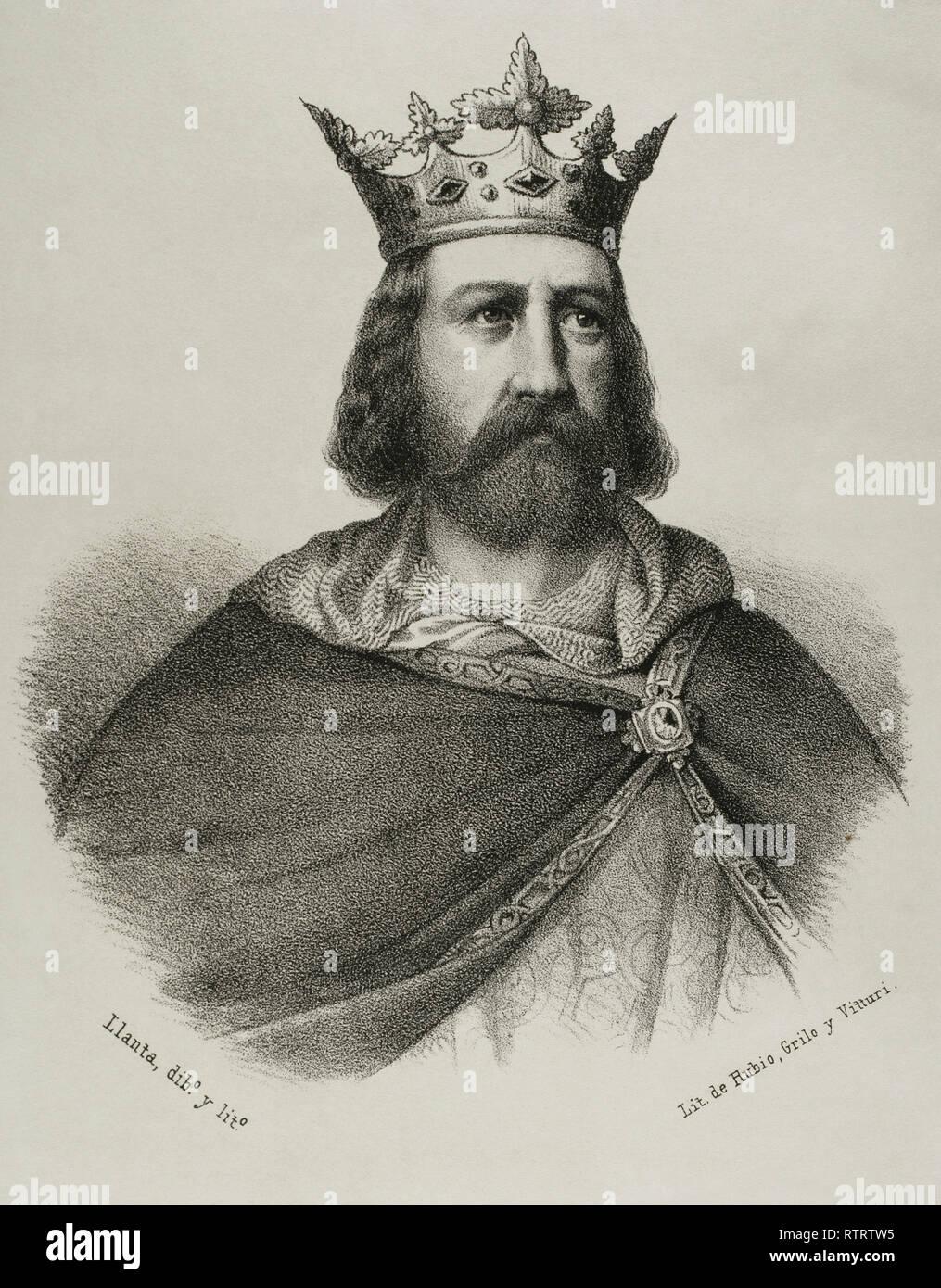Alfons II the Chaste (1157-1196). King of Aragon and Count of Barcelona. Lithography. Crónica General de España, Historia Ilustrada y Descriptiva de sus Provincias. Catalonia. 1866. - Stock Image