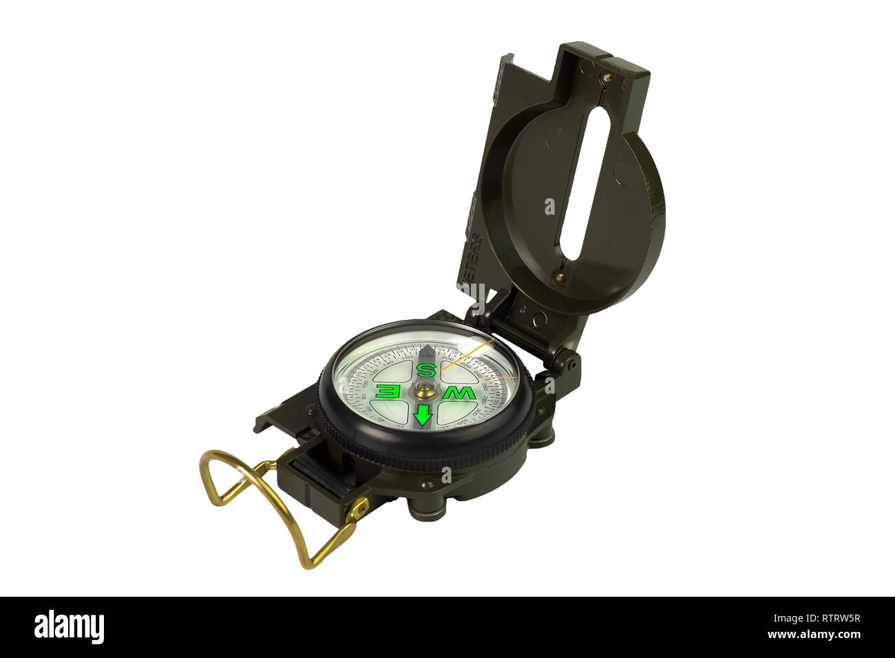 Compass with the lid open on a white background isolated - Stock Image