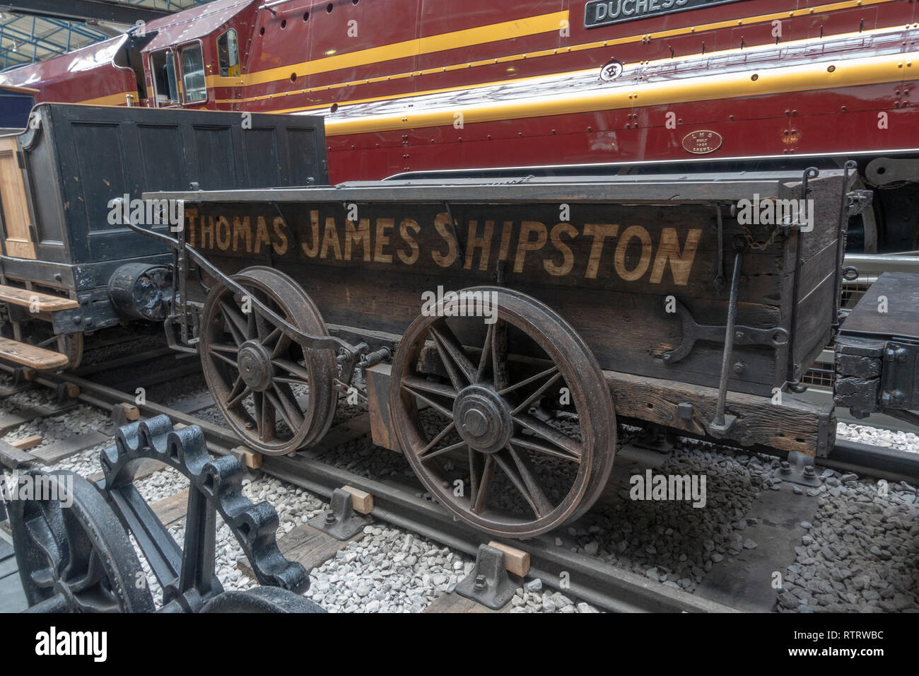 A horse drawn railway wagon, Stratford & Moreton Tramway on display in the National Railway Museum, York, UK. - Stock Image