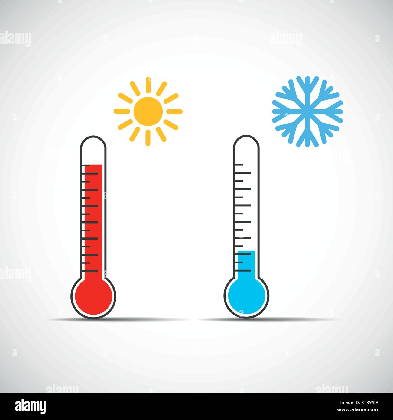 heat thermometer icon symbol hot cold weather vector illustration EPS10 - Stock Vector