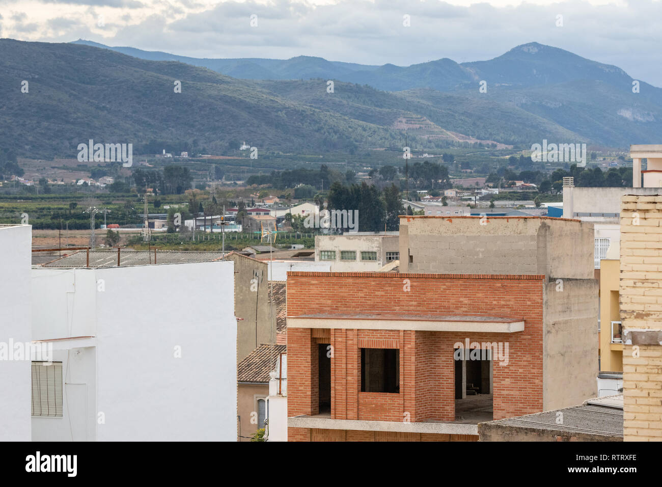 Under construction residental building in small town in Spain, Canals. Stock Photo