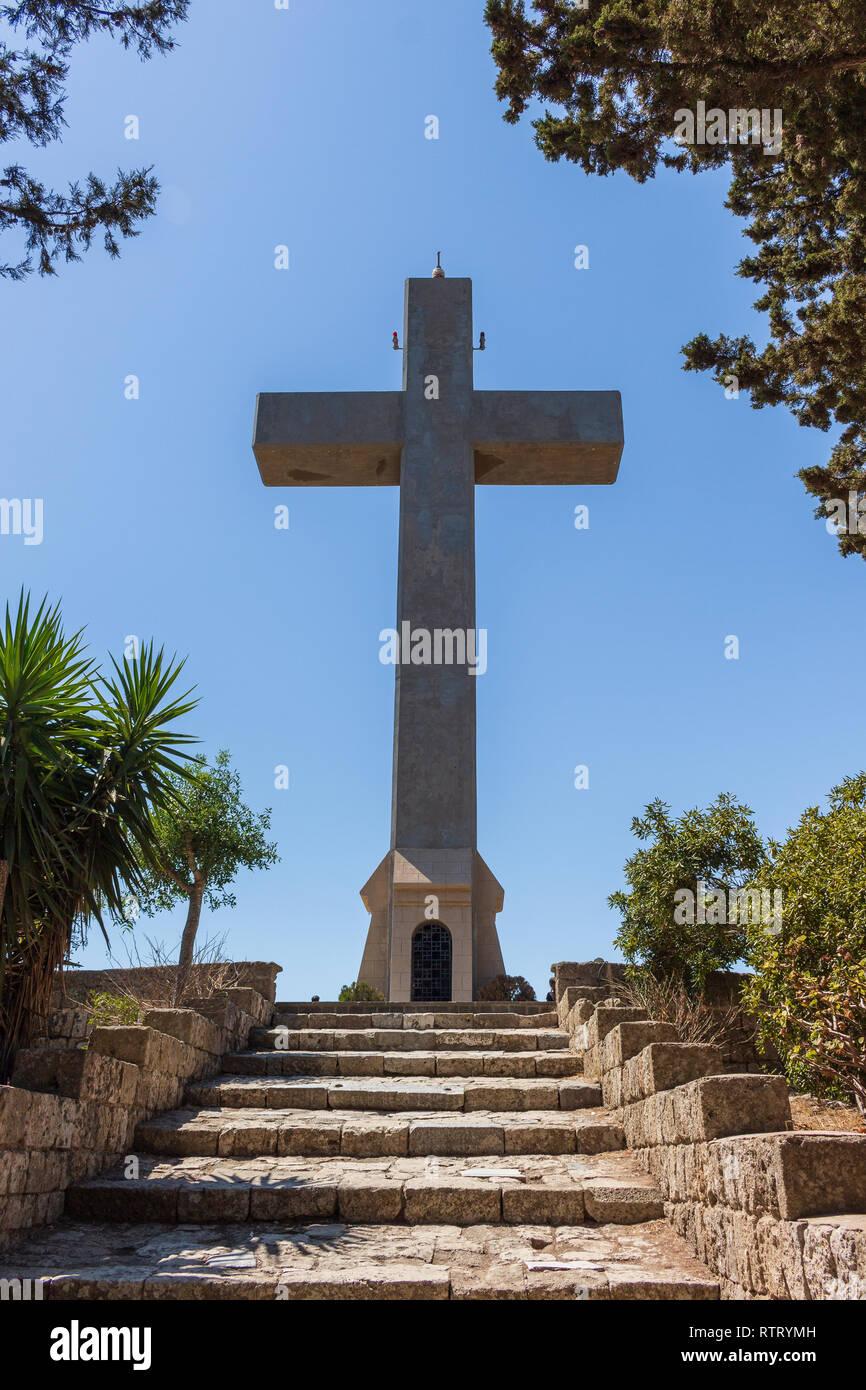 cross at Filerimos mountain at Rhodes - Stock Image