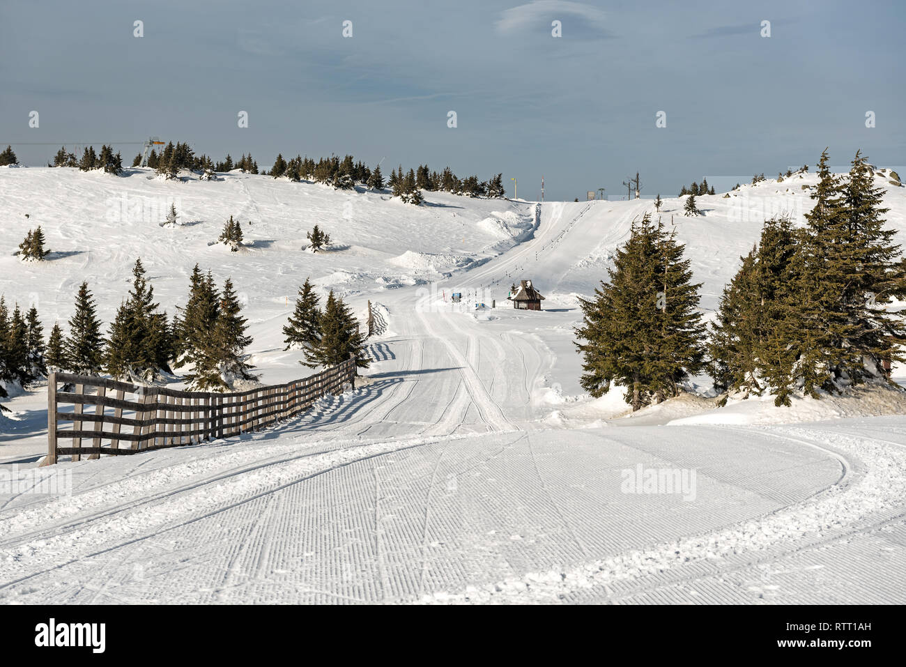 Early morning view of a Ski piste in winter, Mountain Kopaonik, Serbia - Stock Image