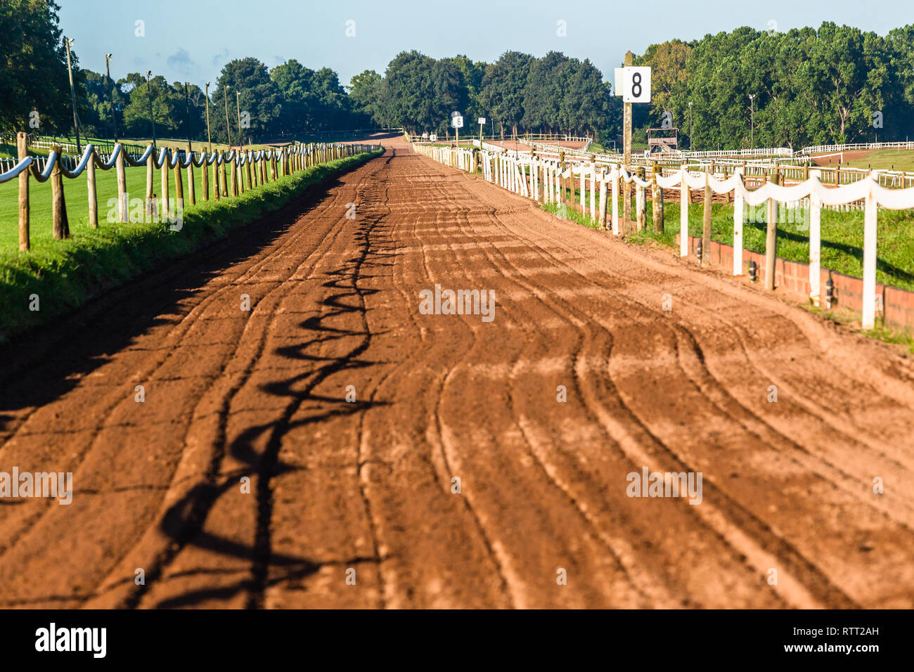 Horse race sand training  track railing fence blue sky equestrian countryside landscape. - Stock Image