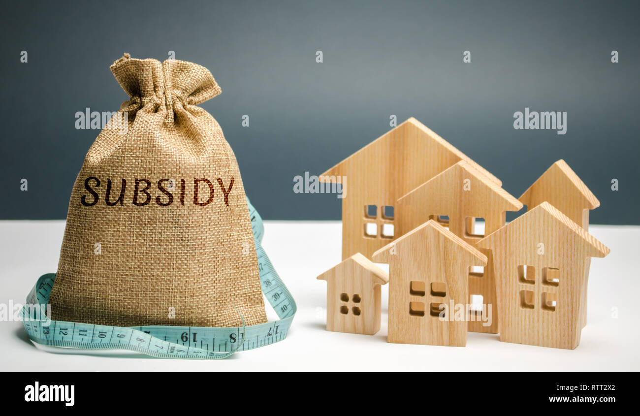 Money bag with the word Subsidy and wooden houses. Financial aid, support to the population. Cash grants, interest-free loans. Tax breaks, insurance,  - Stock Image