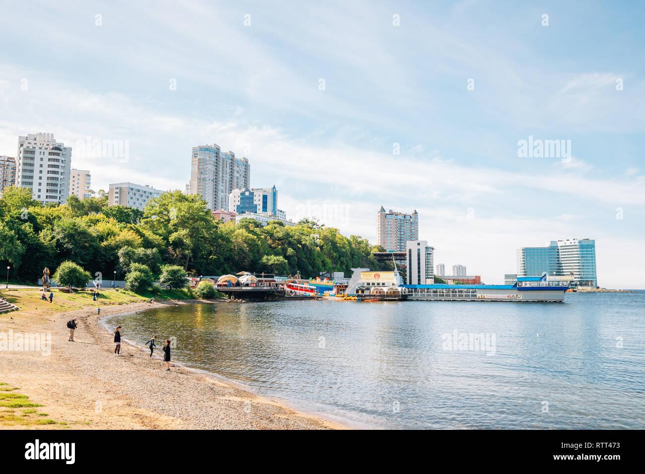 Vladivostok, Russia - September 16, 2018 : Beach and seaside restaurant - Stock Image