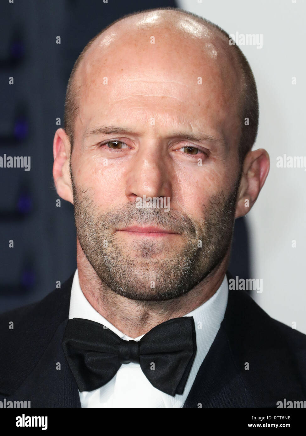 BEVERLY HILLS, LOS ANGELES, CA, USA - FEBRUARY 24: Actor Jason Statham arrives at the 2019 Vanity Fair Oscar Party held at the Wallis Annenberg Center for the Performing Arts on February 24, 2019 in Beverly Hills, Los Angeles, California, United States. (Photo by Xavier Collin/Image Press Agency) Stock Photo