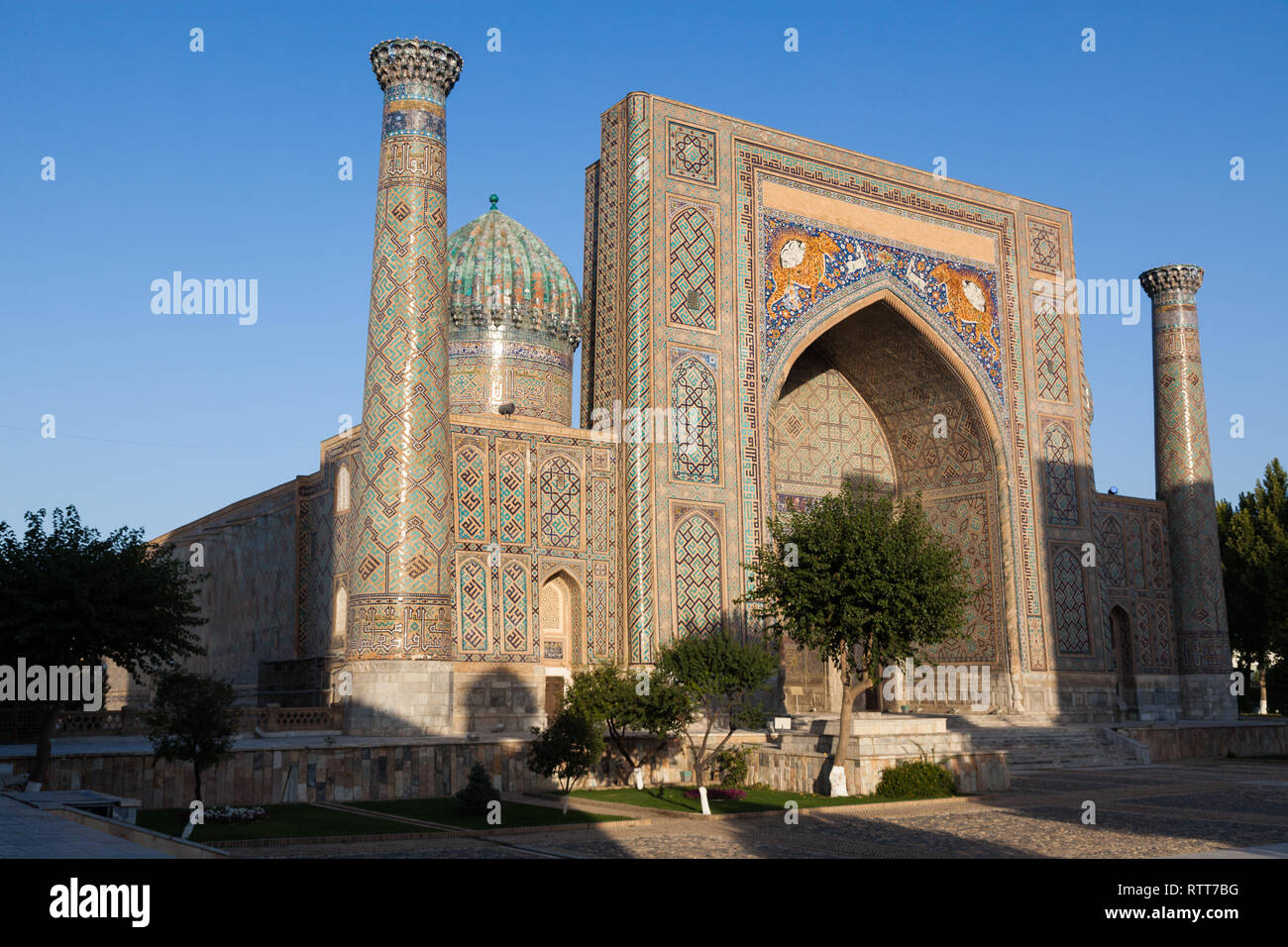 The Registan, the heart of the ancient city of Samarkand - Uzbekistan - Stock Image