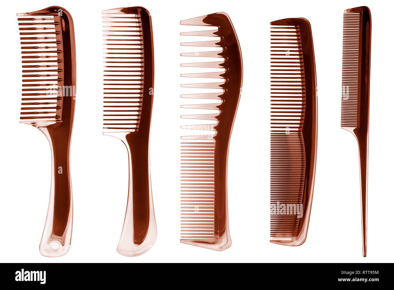 Hair combs on white background. Five different brown plastic combs for hair styling isolated, clipping paths included - Stock Image
