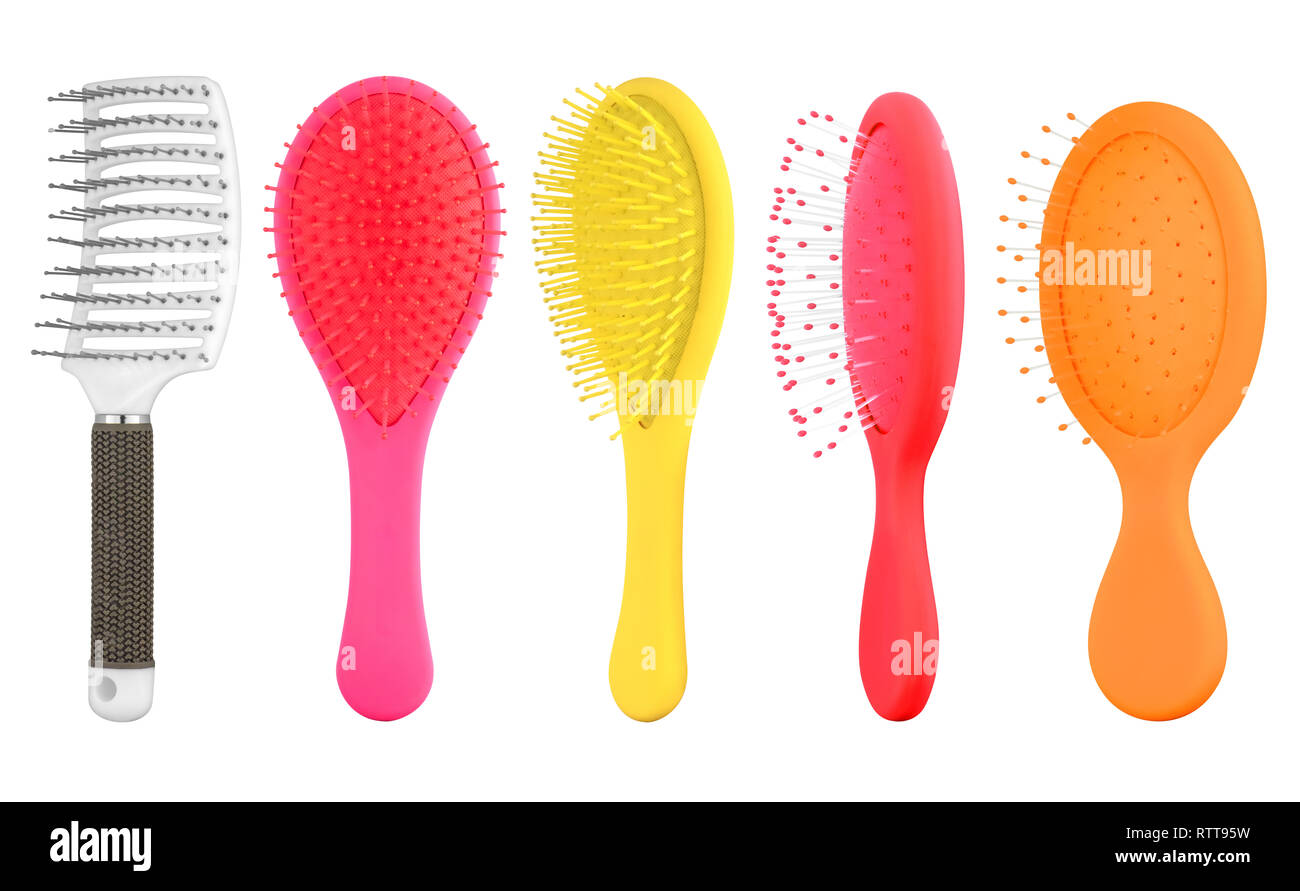 Five hair brushes, professional hair dresser tools for hairstyling isolated on white background, clipping paths included - Stock Image
