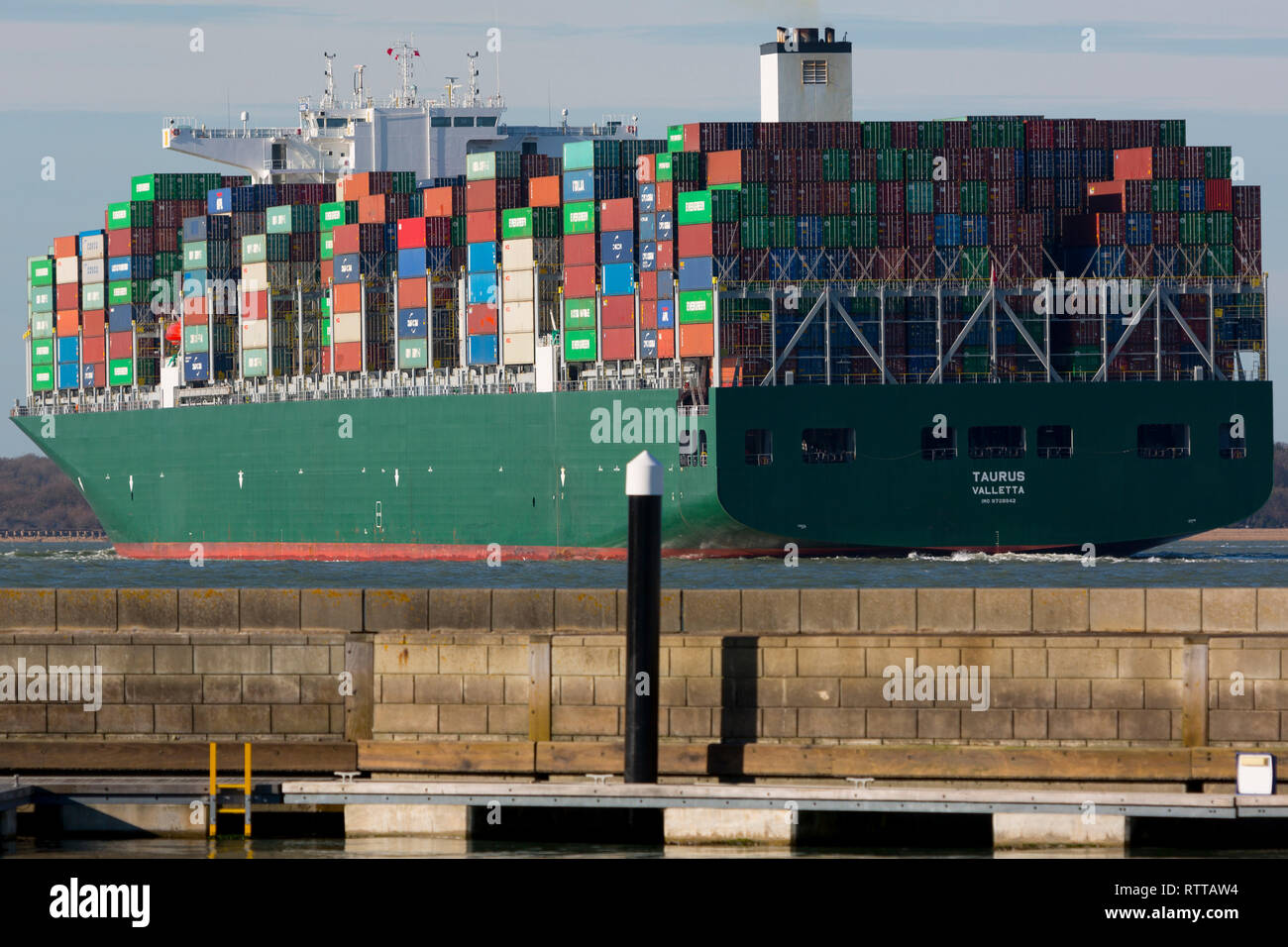 Container Ship, The Solent, Cowes, isle of Wight, Southampton, England, UK, - Stock Image