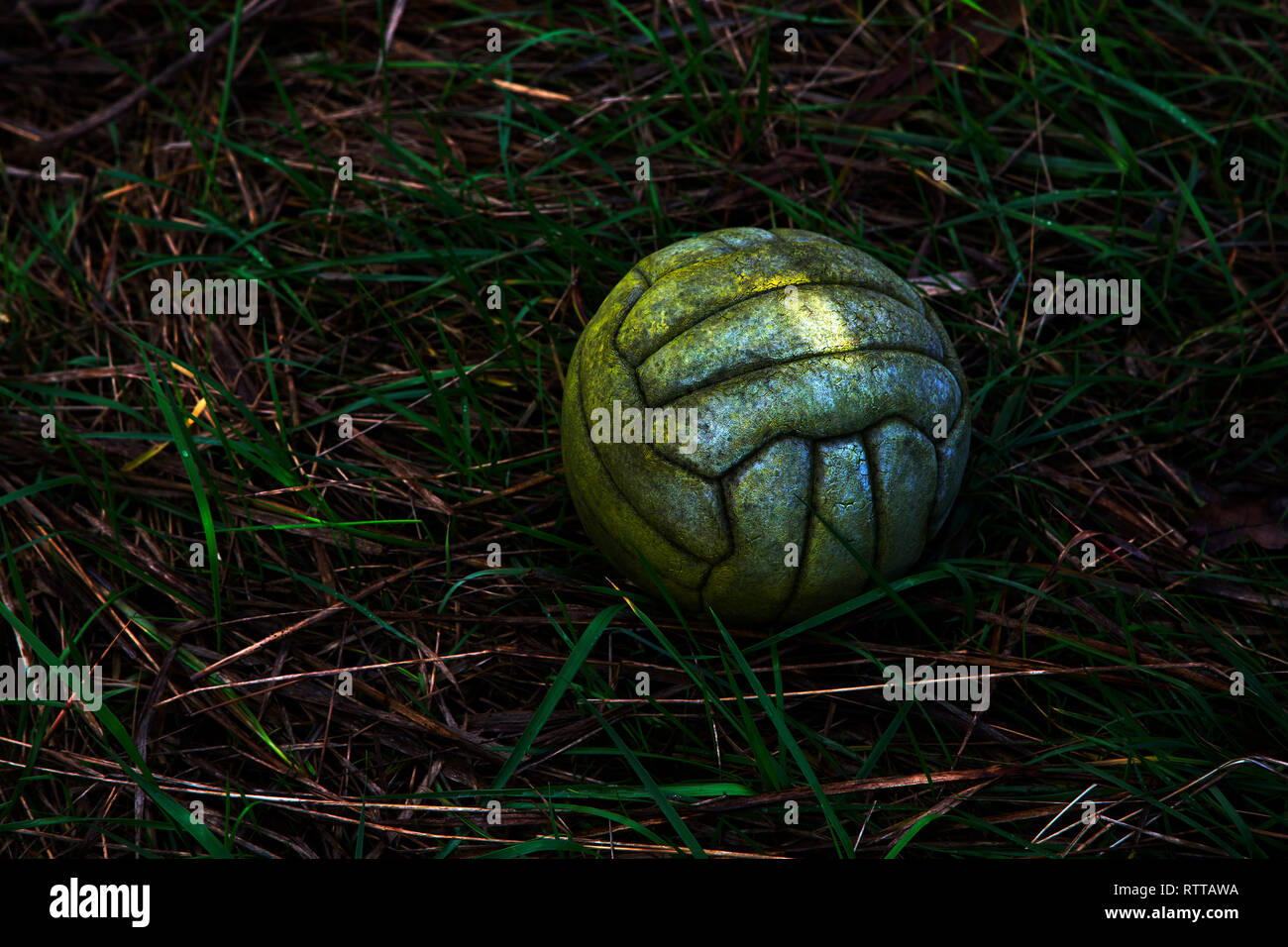 leather,football, mouldy, green, sea, tide, grass, discarded, thrown,away, - Stock Image