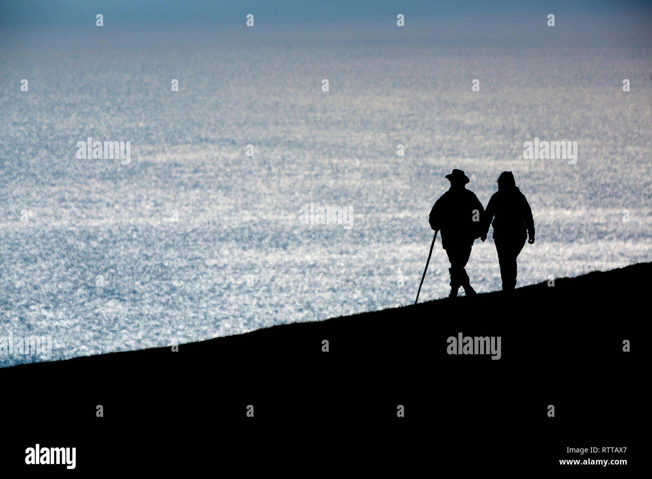walkers, ramblers, Tennyson,Down, English, Channel, Freshwater, Isle of Wight, England, UK, Stock Photo