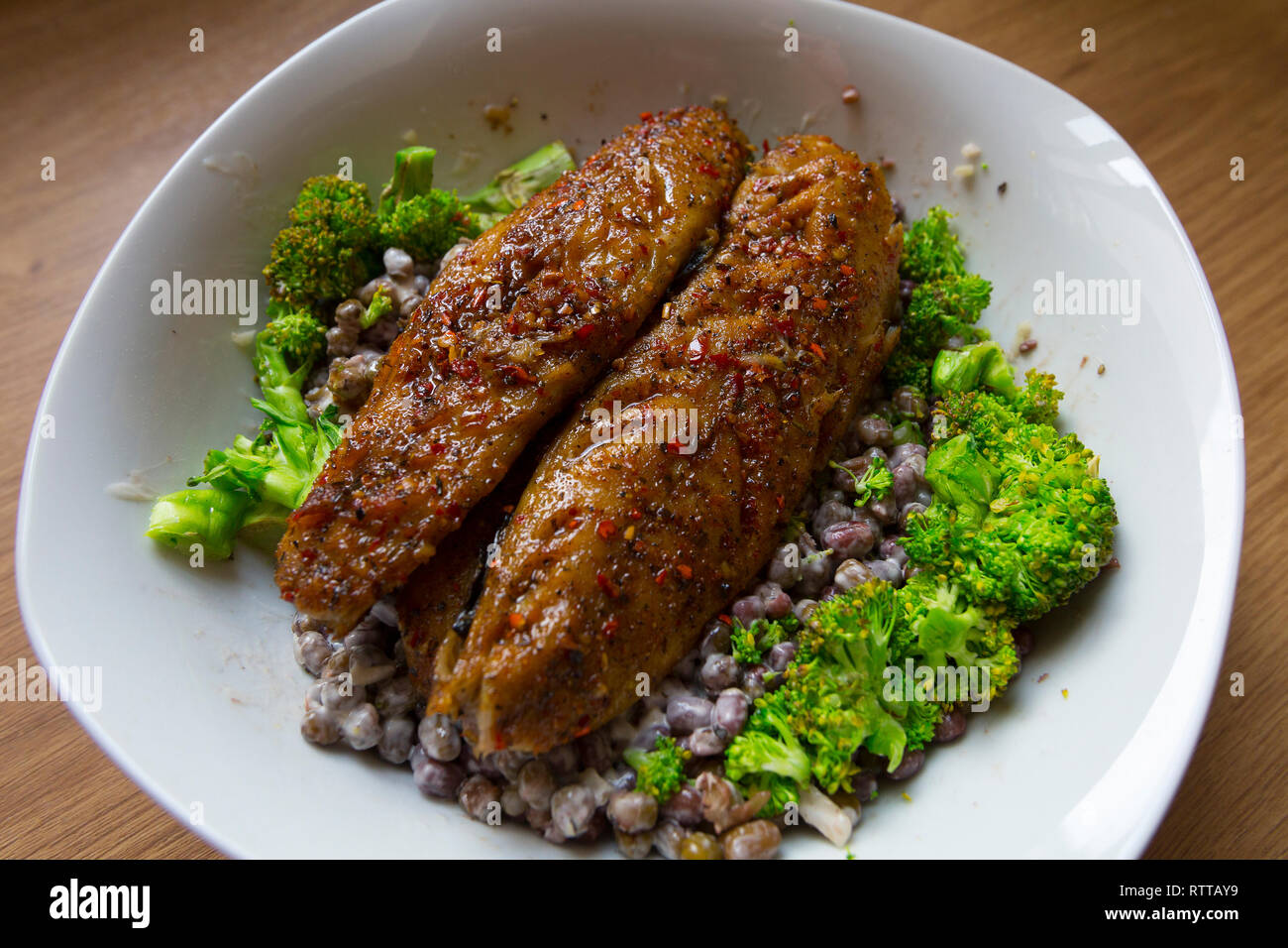 recipe, piri piri, sauce, mackeral, fish, dish, food, lunch, dinner, supper, cooked, home, - Stock Image