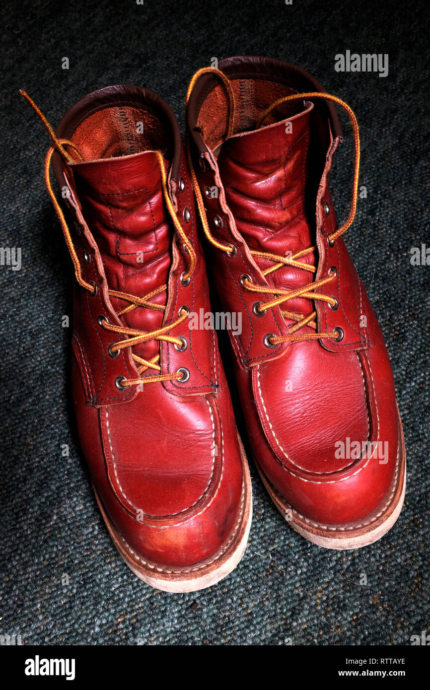 Red Wing, Boots, American, hand made, product, leather, - Stock Image