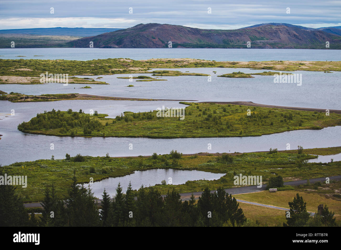 Mountains Tingvallir Iceland where the worlds first parliament settled. Captured at summer season Stock Photo