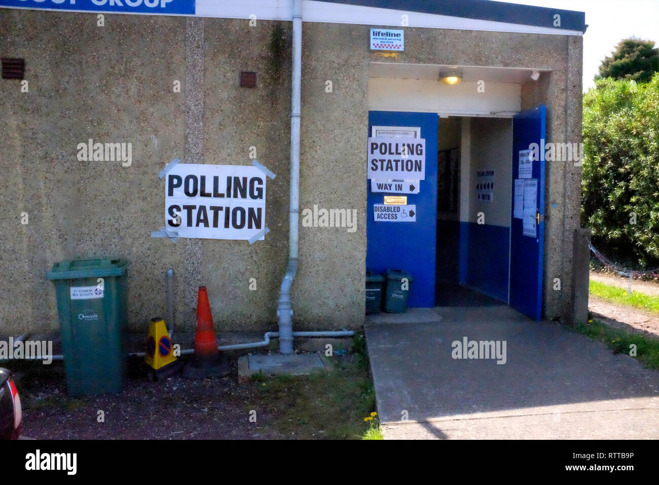 Scout Hut, Polling Station, deprived, area, poverty, poor, constituency, vote, party, politics, booth, paper, - Stock Image