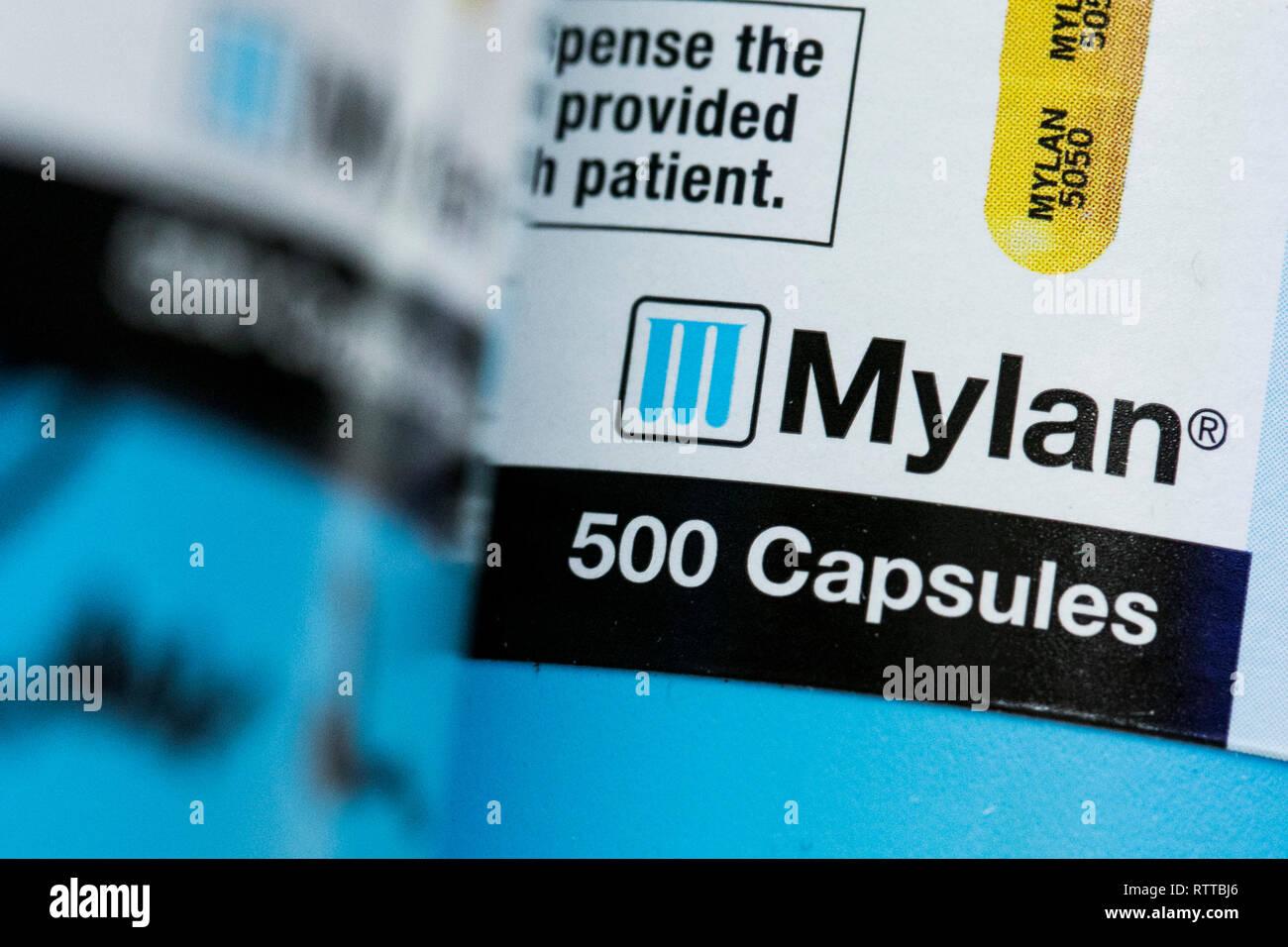 A Mylan logo is seen on prescription pharmaceutical packaging