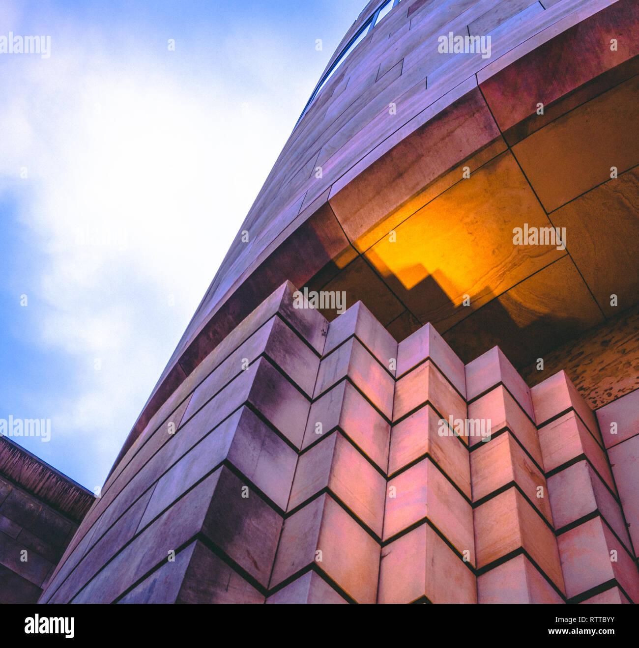 Futuristic building design in the city of Edinburgh, Scotland - looking up Stock Photo