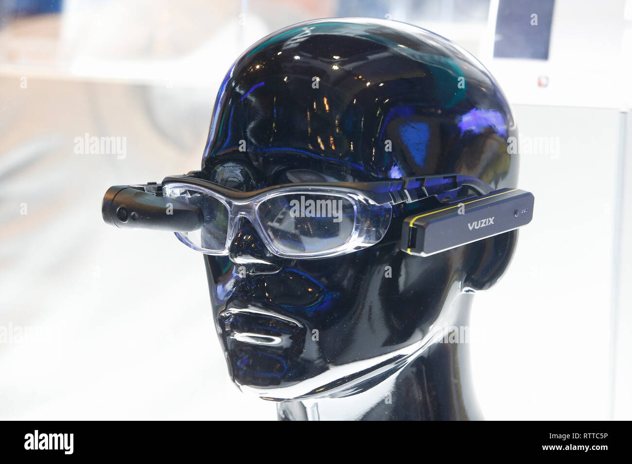 Vuzix smart augmented reality optical system presented at company booth in mobile wolrd congress in Barcelona. - Stock Image